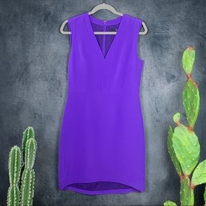 Tibi Purple Indigo Silk Sheath V-Neck Dress   A408